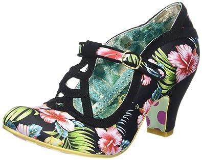 49b665cea94 Irregular Choice Nicely Done Black Floral Womens T Bar Heels