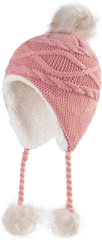 Home Prefer Girls Sherpa Earflaps Hat Kids Winter Hat Beanie Fuzzy Peruvian Hat