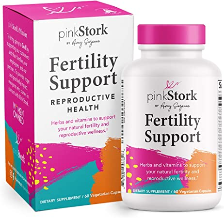Pink Stork Fertility Support: Fertility Supplements for Women to Support Healthy Cycles, Fertility Prenatal Vitamins + Vitex + Biotin + Ashwagandha + Vitamin C + Folate, Women-Owned, 60 Capsules