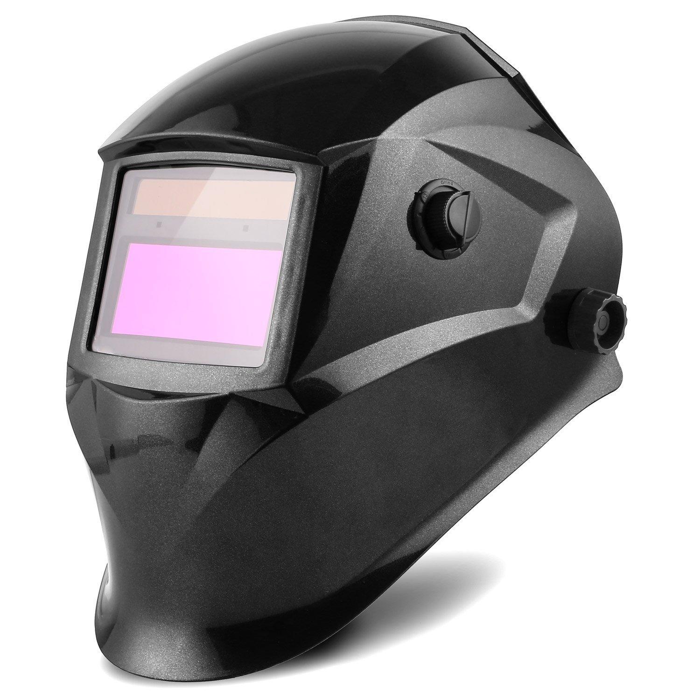 FIXKIT Casco Soldadura de Oscurecimiento Automático con Protección UV, Gran Campo de Visión (96 x 48 mm) y 6 Lentes