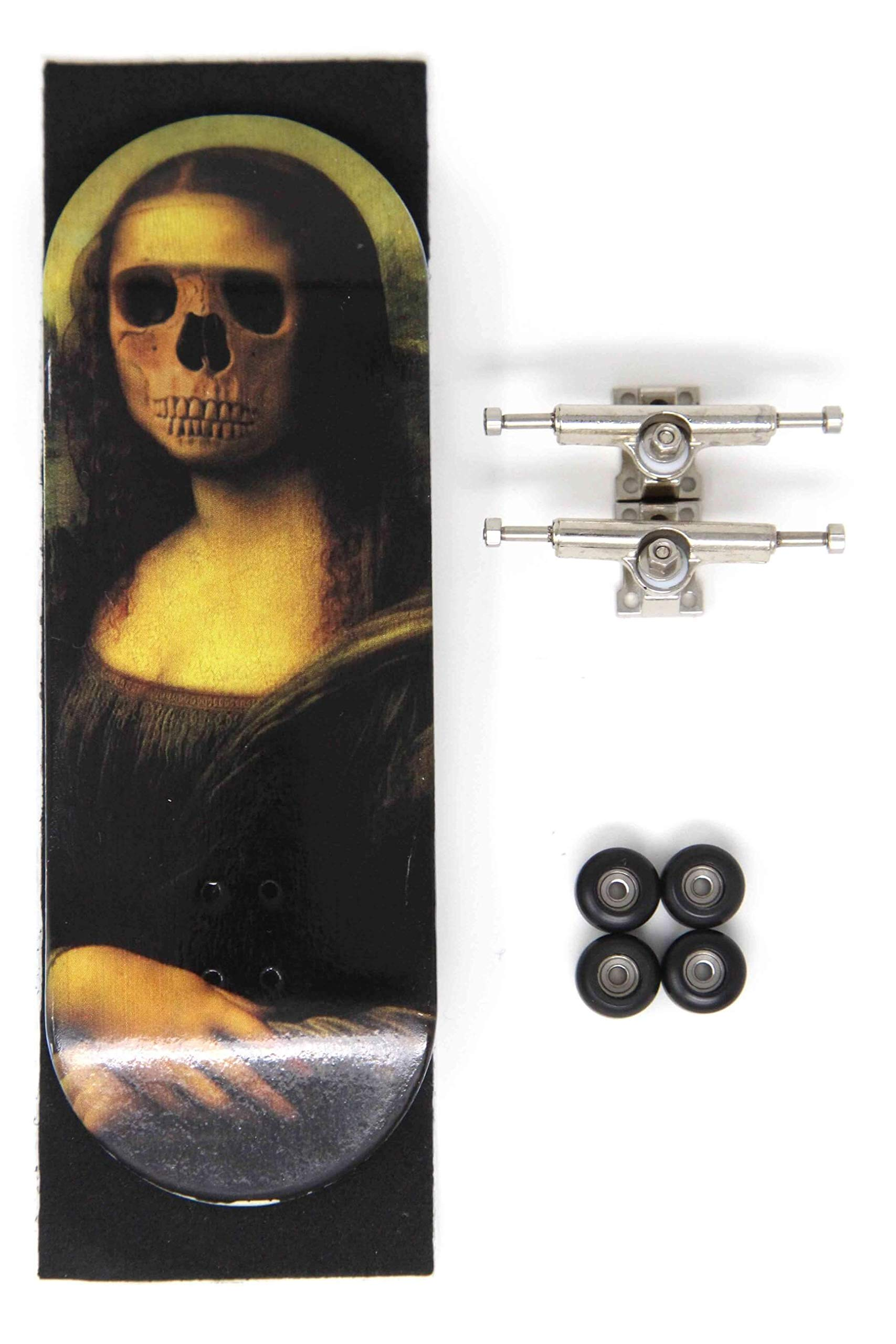 Skull Fingerboards Mona 34mm Complete Professional Wooden Fingerboard Mini Skateboard 5 PLY with CNC Bearing Wheels by Skull Fingerboards (Image #1)
