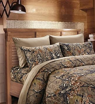20 Lakes Super Soft Microfiber 3 Piece Camo Bed Sheets And Pillowcases Brown Twin