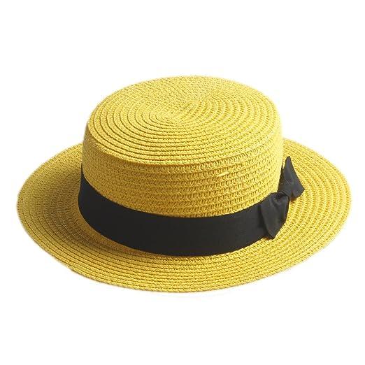 c0aa08c32f03c Elee Children Girls Straw Bowler Derby Hat Round Flat Brim Caps (Yellow )