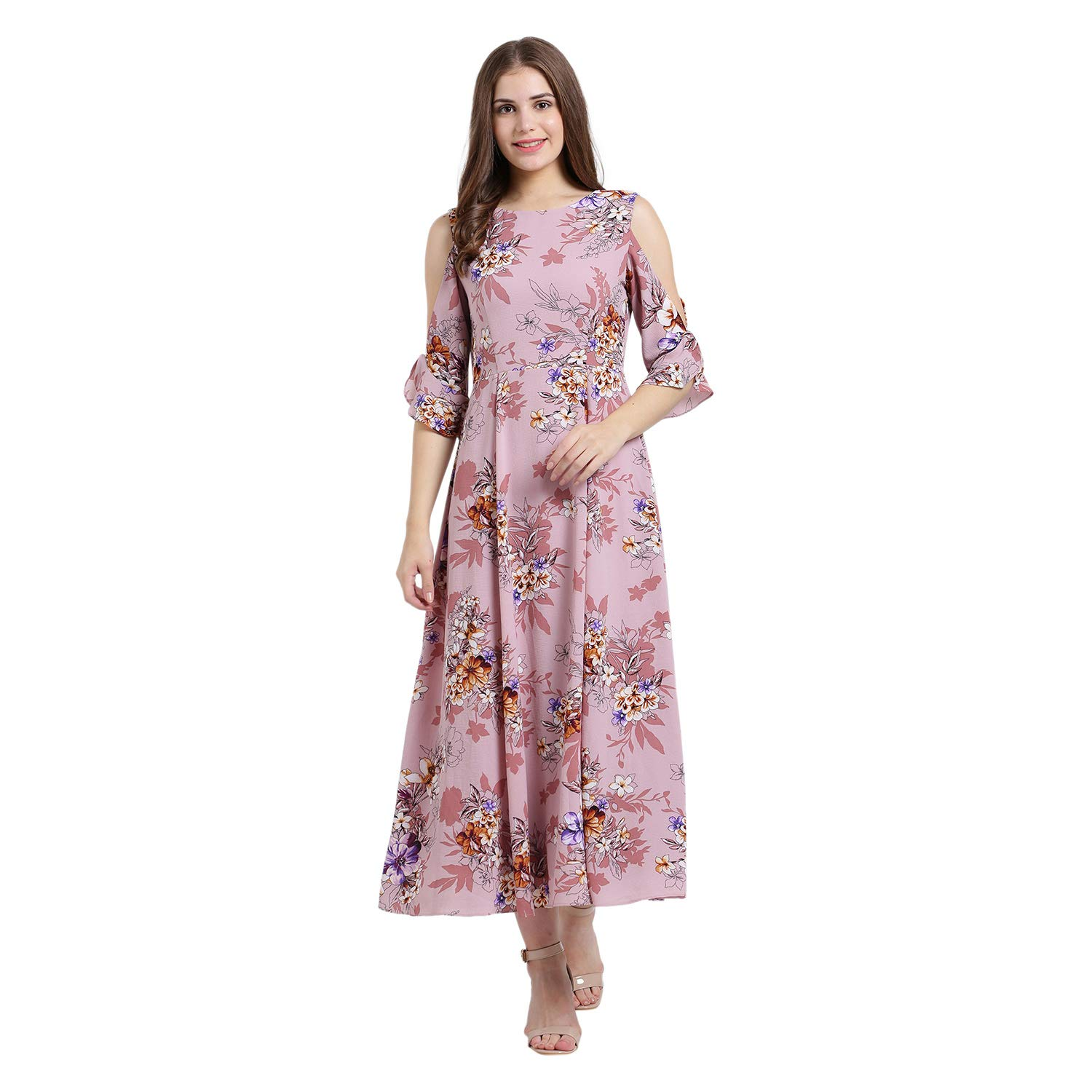 1d59e88f82 Zink London Purple Polyester Floral Print Cold Shoulder Fit   Flare Maxi  Dress for Women  Amazon.in  Clothing   Accessories