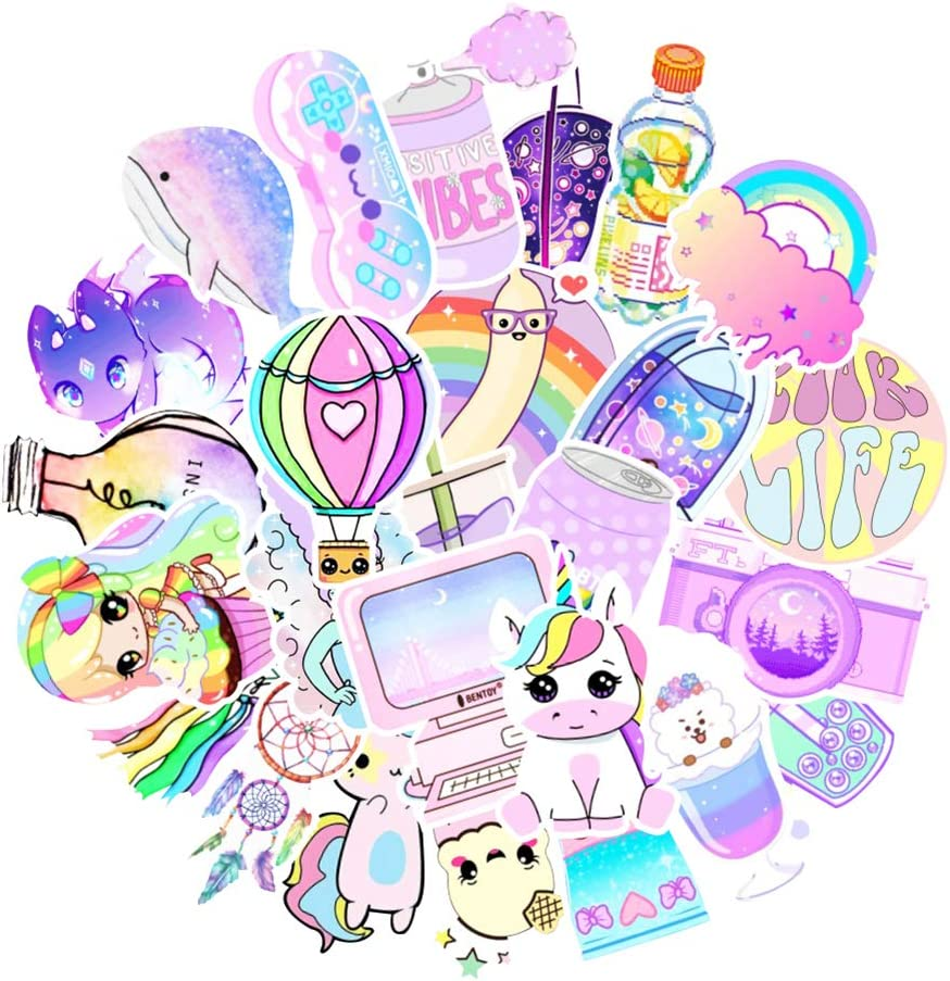 Zaptex 100 PCS Stickers Packs, Colorful Waterproof Stickers Decals for Laptop, Water Bottle, Cars, Cute Aesthetic Vinyl Sticker Pack for Adults Kid (Light Pink)