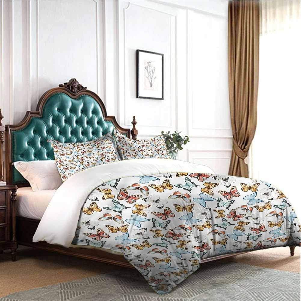 Jktown Butterfly Bedding Duvet Cover 3 Piece Set Soft Spring Nature Bedding Set for Men, Women, Boys and Girls King