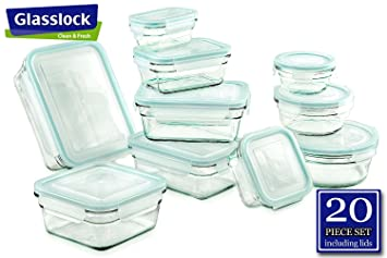 Glasslock Food Storage Glass Containers 20pc Set R Anti Spill Proof  Airtight ~ Microwave U0026
