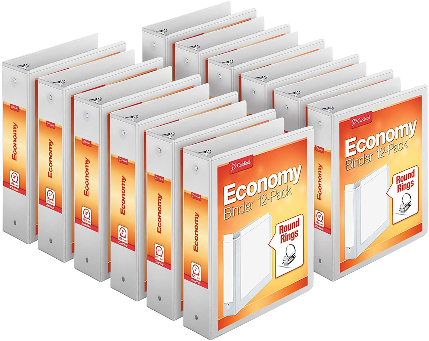 "Cardinal Economy 3-Ring Binders, 3"", Round Rings, Holds 625 Sheets, ClearVue Presentation View, Non-Stick, White, Carton of 12 (90651) : View Binders : Office Products"