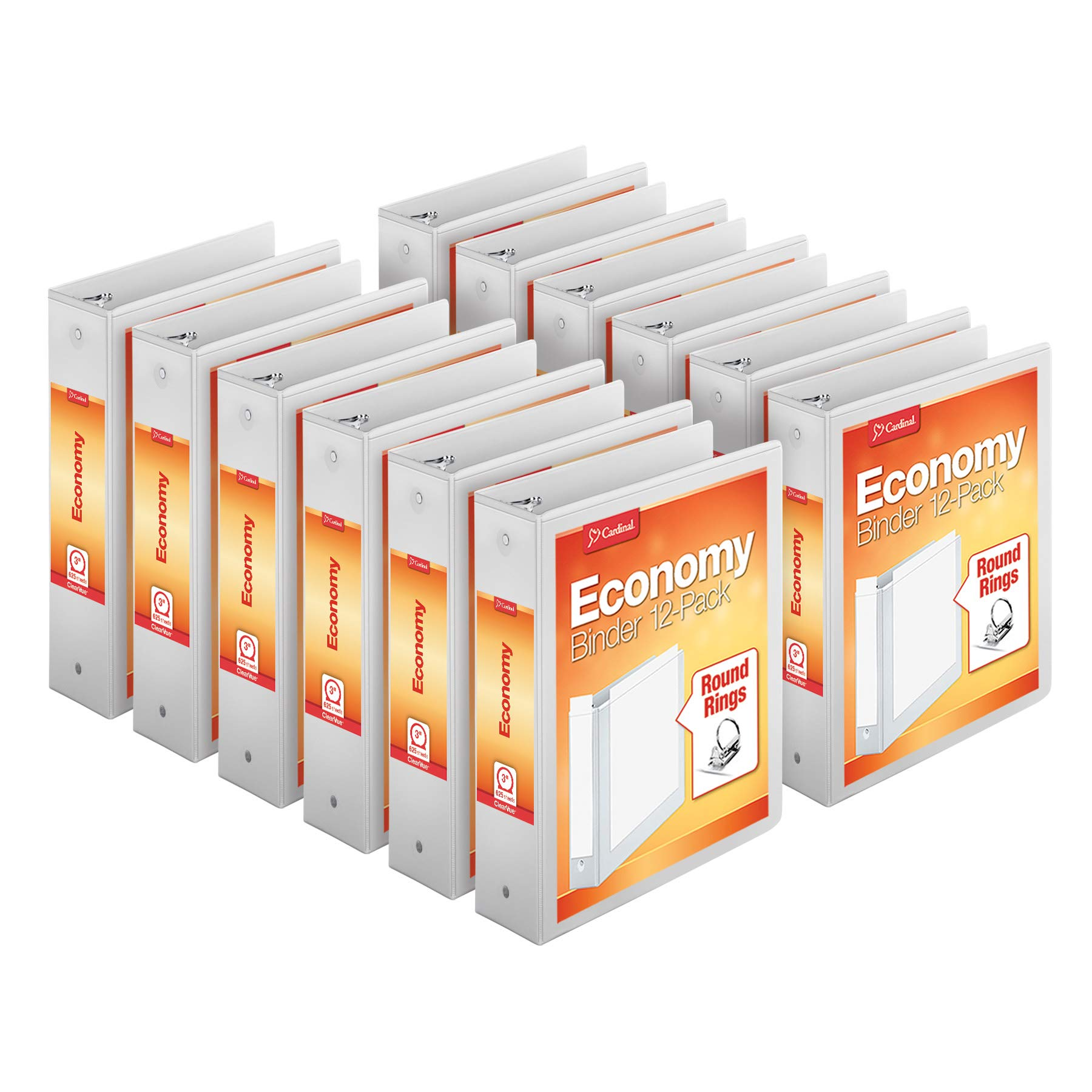 Cardinal Economy 3-Ring Binders, 3'', Round Rings, Holds 625 Sheets, ClearVue Presentation View, Non-Stick, White, Carton of 12 (90651)