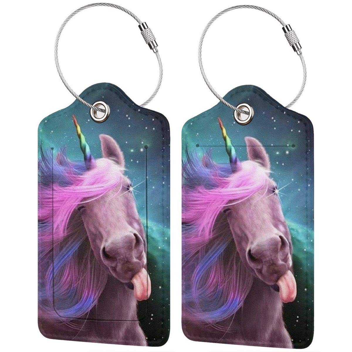 Unicorn Kiss Tongue Funny Cute Bpwd Luggage Tag Label Travel Bag Label With Privacy Cover Luggage Tag Leather Personalized Suitcase Tag Travel Accessories