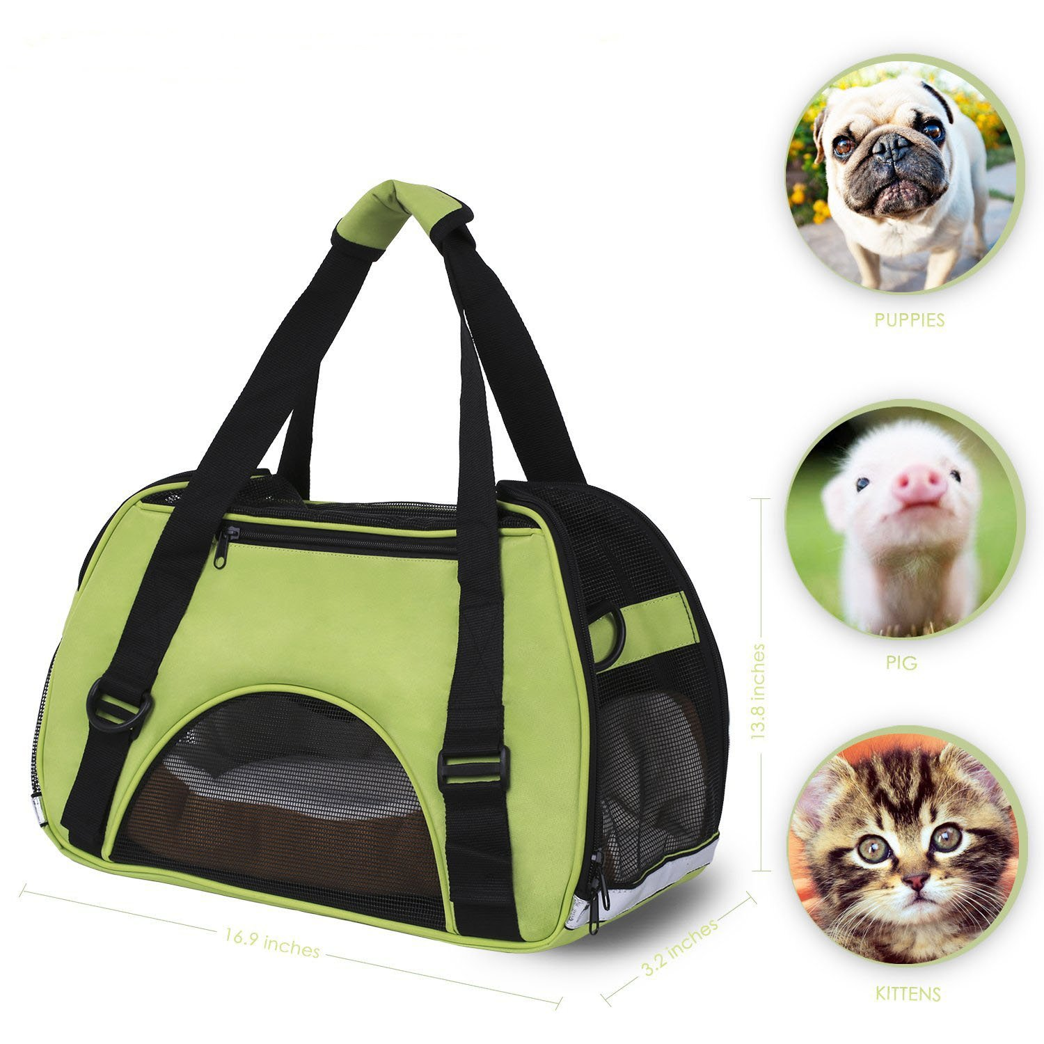 (Green) Power Q Pet Carriers Bag Cute Cuisine Breathable Soft-Sided Pet Carrier Cats Dogs Travel Crate Tote Portable Travel Handbag Shoulder Bag Outdoor