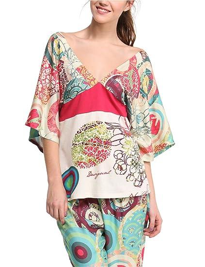 Desigual Mujer-Camisa de Pijama, Modelo Night TS japonés, Multicolor, S/