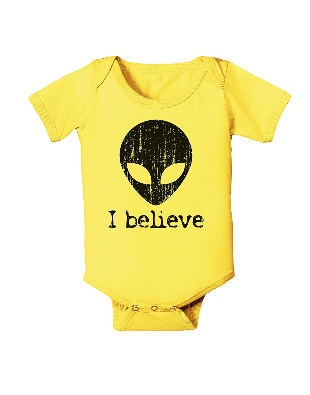 TooLoud Extraterrestrial I Believe Distressed Baby Romper Bodysuit