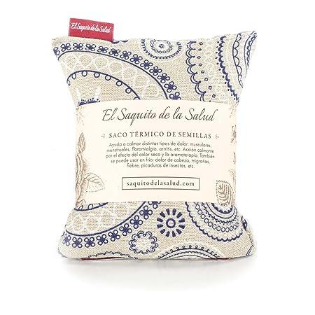 Saco Térmico de Semillas aroma Lavanda, Azahar o Romero tejido Espirales (Lavanda, 23 cm)