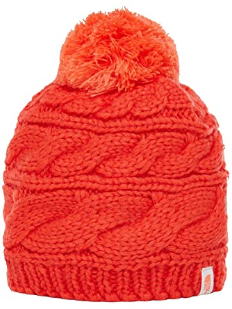 Amazon.com: The North Face Women's Triple Cable Pom Beanie - fire ...