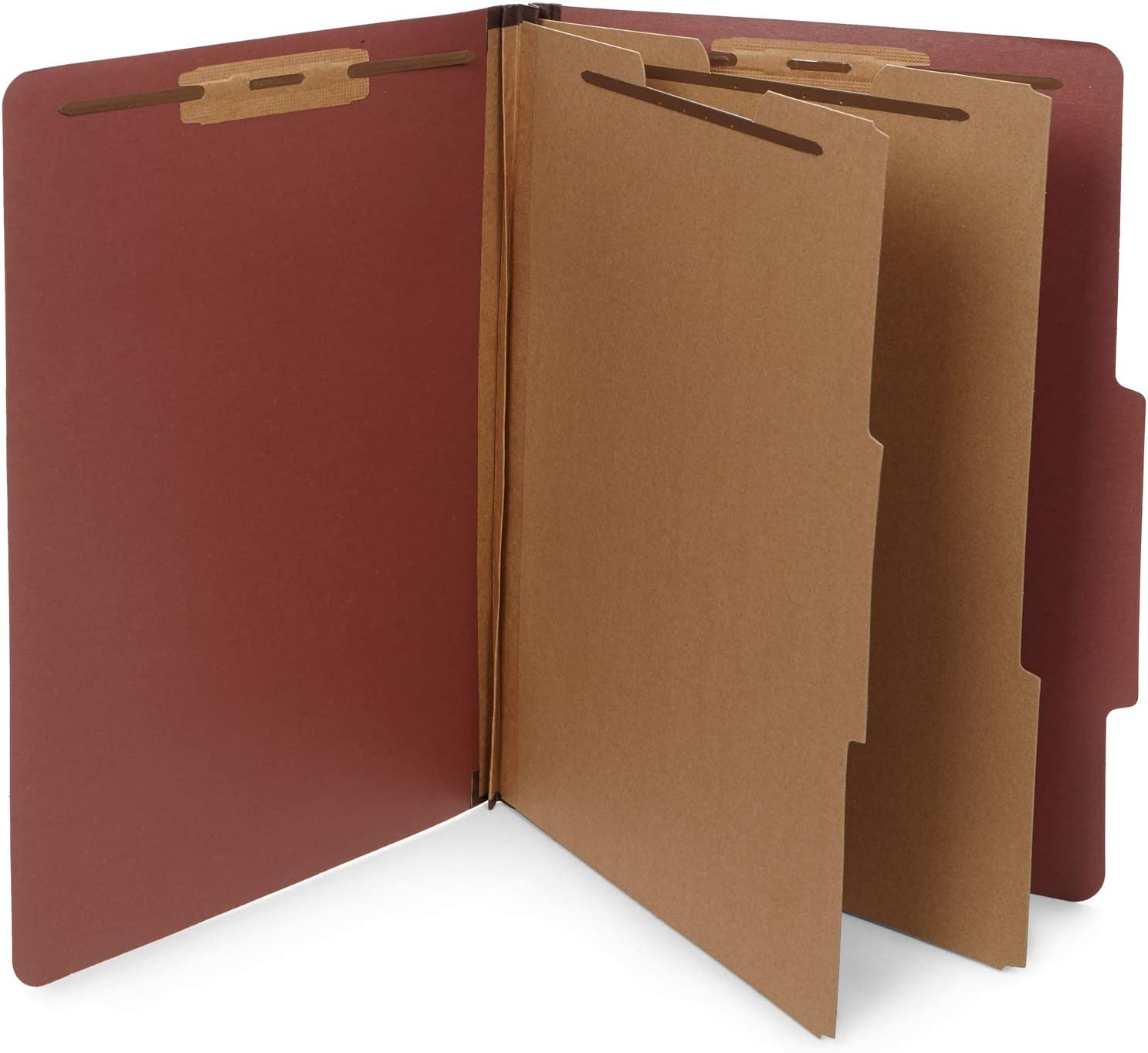 10 Legal Size Classification Folders - 2 Divider - 2 Inch Tyvek Expansions - Durable 2 Prongs Designed to Organize Standard Law Client Files, Office Reports - Legal Size, 10 Folders (Red) 71eElPddUkL