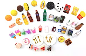 TongYong 51 Pcs Miniature Food Drinks Bottle Pretend Kitchen for 1/12 Doll House