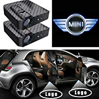Car Door Lights, LED Welcome Logo Lights Wireless Projection Shadow Lights Ghost Shadow Laser Lamp Car Decoration Lights Powered by Battery Fit for MINI COOPER (2 Pack)
