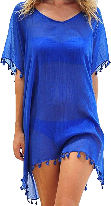 Womens Chiffon Beachwear Tassel Beach Dress Bikini Swim Bathing Suit Cover Up Blue