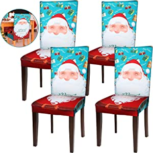 Boao Christmas Chair Protector Cover Stretch Removable Washable Chair Seat Protector Cover Christmas Seat Slipcover for Home Hotel Dining Room Banquet Wedding Party (Santa Style, 4)