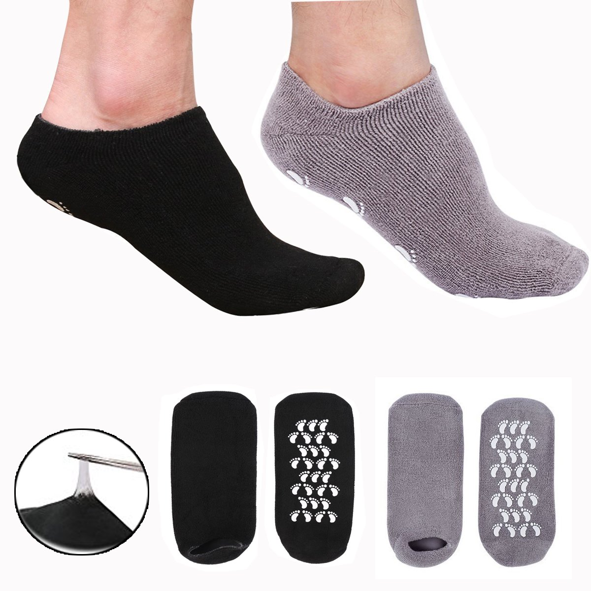 EXPER Moisturizing Gel Spa Humectant Moisturizer Socks for Men's Large Feet Size 10-12 Dry Hard Broken Rough Skin Cracked Heel Silicone Heel Socks (Black + Grey)