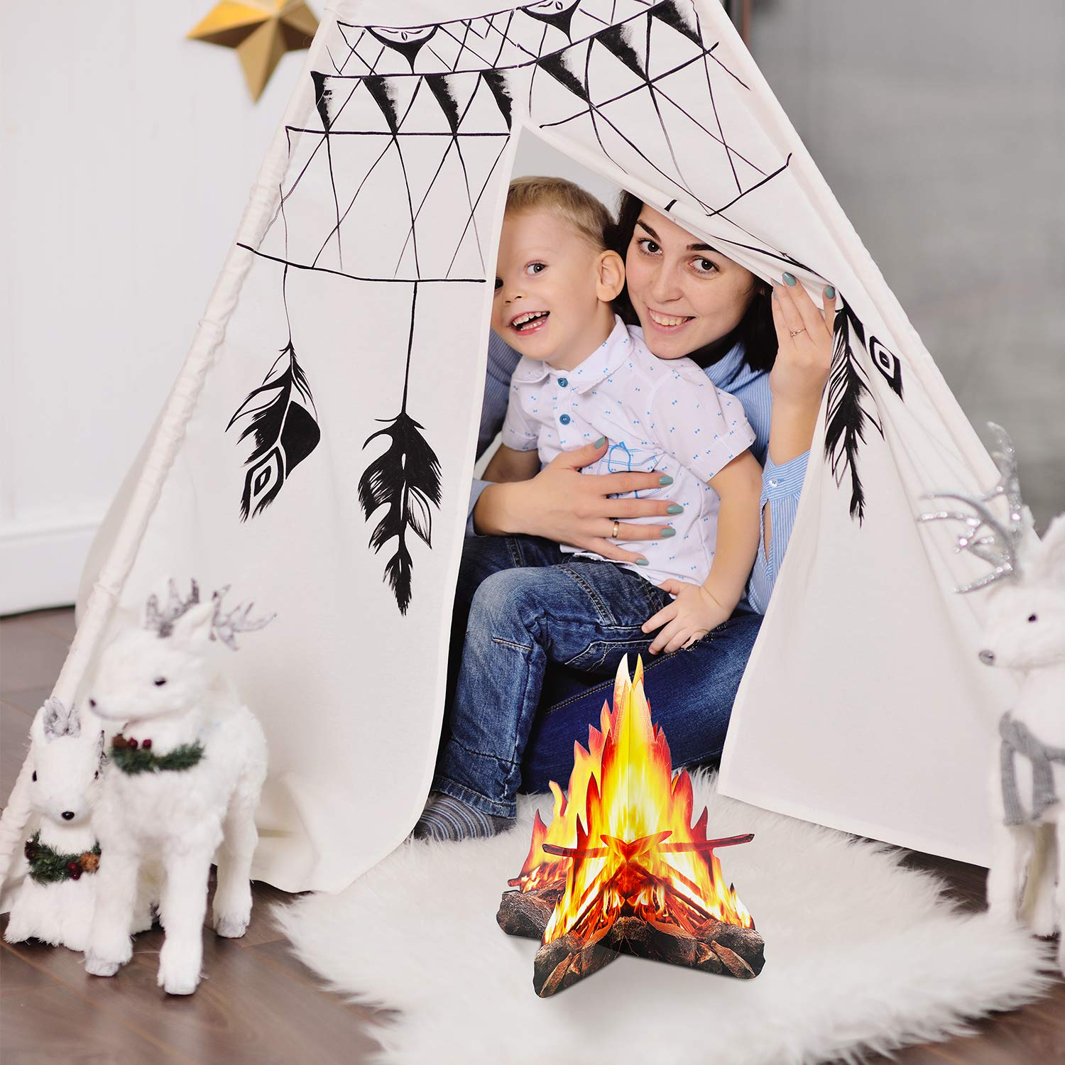 2 Sets 12 Inch Tall Artificial Fire Fake Flame Paper 3D Decorative Cardboard Campfire Centerpiece Flame Torch for Campfire Party Decorations