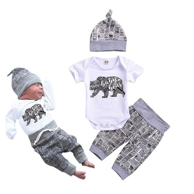 Conjunto de Ropa para reci/én Nacidos con Estampado de Letras Sombrero 3 Piezas Pantalones a Rayas