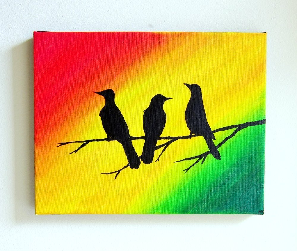 Amazon.com: Three Little Birds Canvas Painting Rasta Color Decor ...