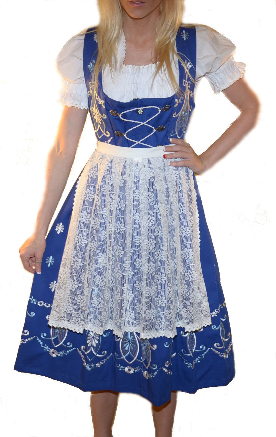 Dirndl Trachten Haus 3-Piece Long German Wear Party Oktoberfest Waitress Dress 8 38 Blue