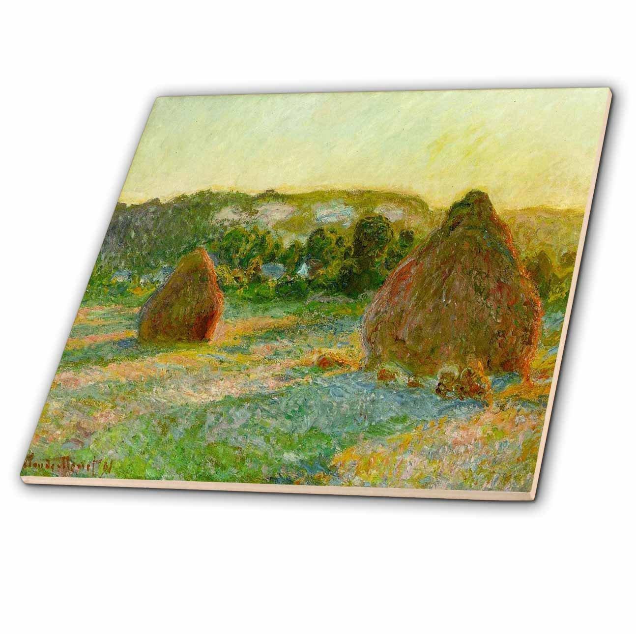 3dRose ct_61833_1 Monet Painting Wheatstacks End of Summer Ceramic Tile, 4-Inch