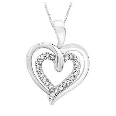 amazon sterling accent diamond heart double quot pendant dp silver necklace com