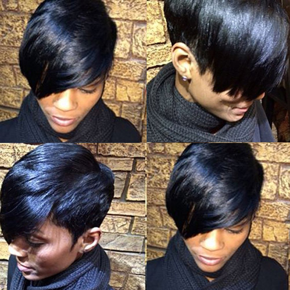 HOTKIS Side Part Short Wigs Human Hair Glueless Short Bob Wigs for Women can be dyed and purmed (Side Part -Natural Color) BLACKPRETTYHAIR