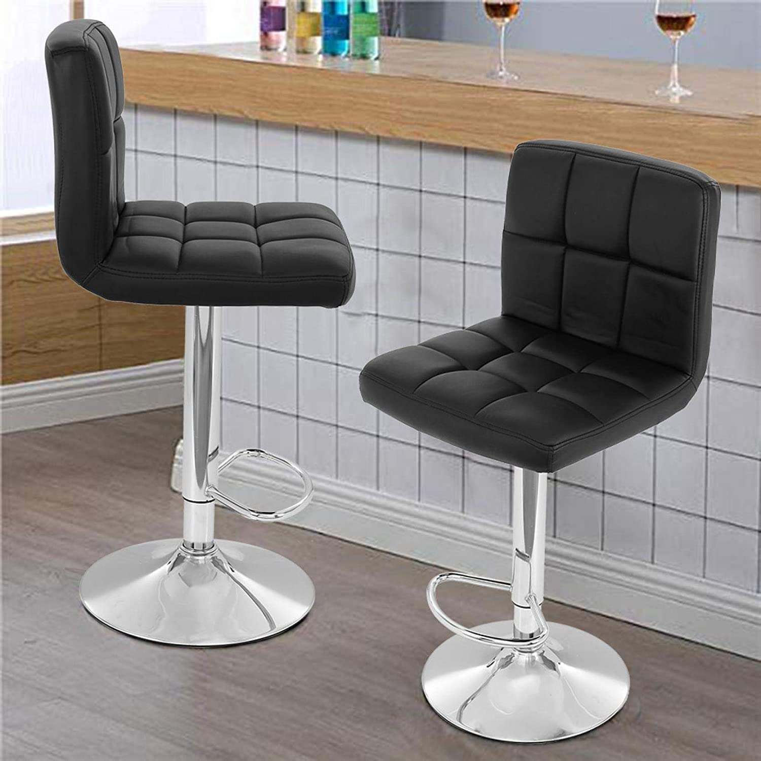 Amazon Promo Code for 2 Pcs Modern Square PU Leather Bar Stools