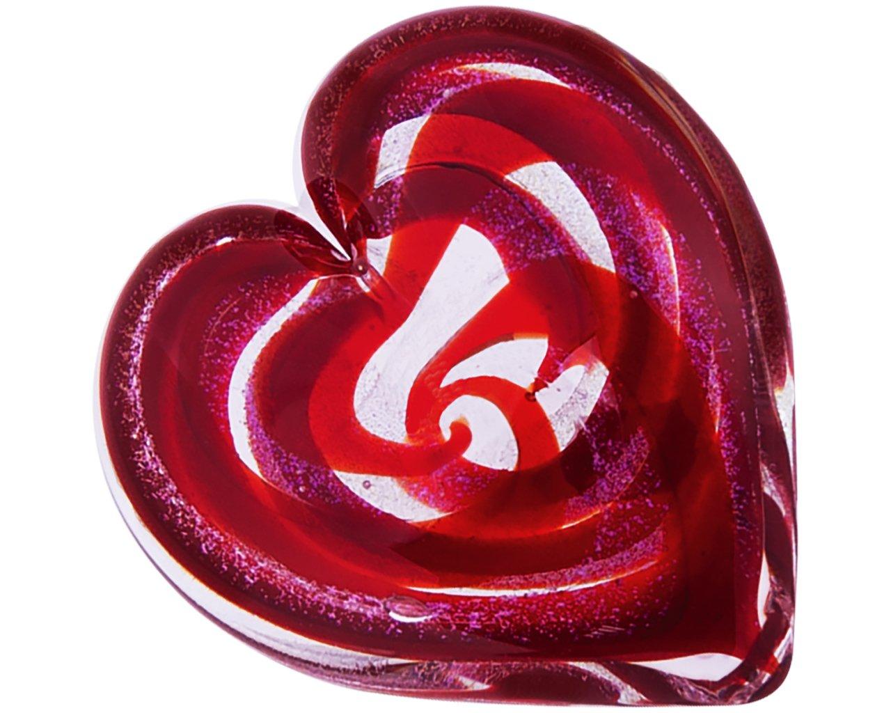 Glass Eye Studio Hand Blown Hearts of Fire Scarlet Glass Paperweight