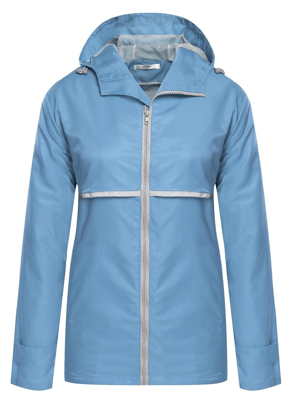Meaneor Women Front-Zip Hooded Waterproof Outdoor Rain Reflective Stripe Jacket