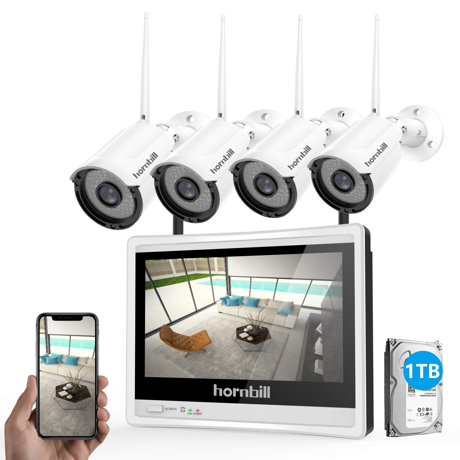 Wireless Security Camera System with Monitor,Hornbill 1080P 8 Channel Video Security System with 12 Inch Monitor,1TB Hard Drive,4PCS 1.3MP Indoor Outdoor IP Security Camera with Night Vision Free APP by hornbill