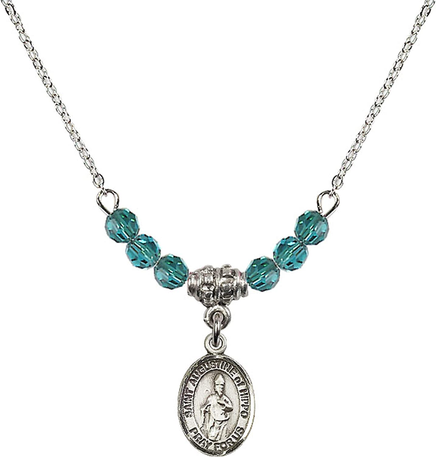 Bonyak Jewelry 18 Inch Rhodium Plated Necklace w// 4mm Blue December Birth Month Stone Beads and Saint Augustine of Hippo Charm