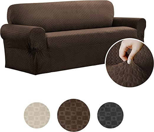 Stretch Slipcover 3-Seat Sofa Cover Soft Solid Chocolate One-piece Construction