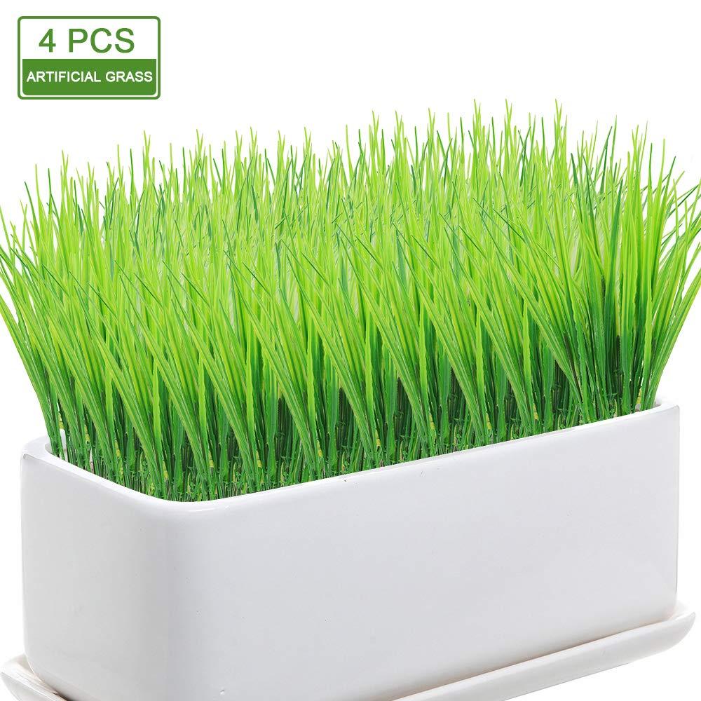 JUSTIDEA Plantas Artificiales Plastico Verdes Falsos arbustos de Hojas plasticas Hierba de Exterior y Interior Decoraci/ón Balc/ón Ventana Jard/ín 4pcs