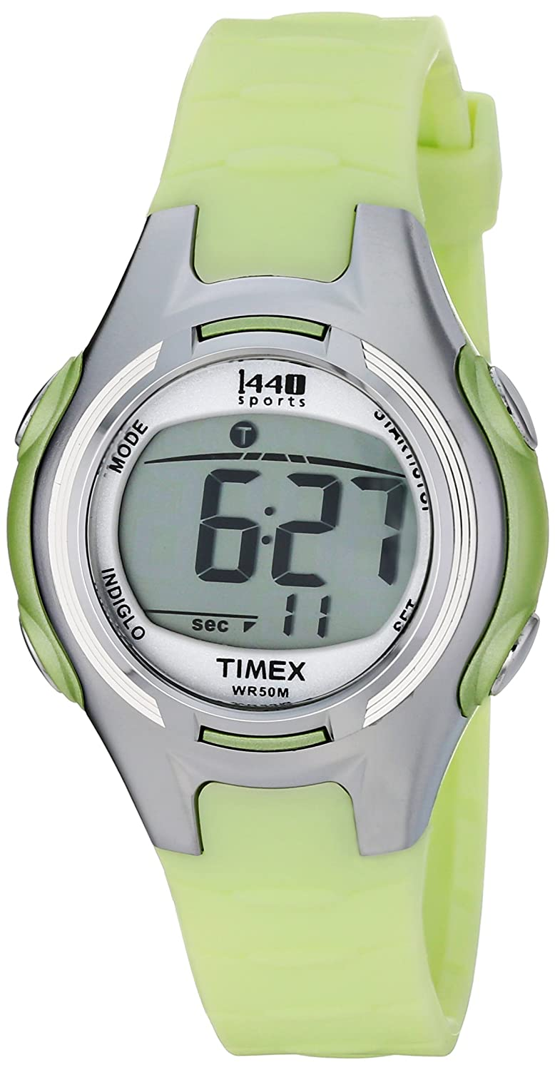 03b810639 Amazon.com: Timex Women's T5K081 1440 Digital Watch with Light-Green Resin  Strap: Timex: Watches