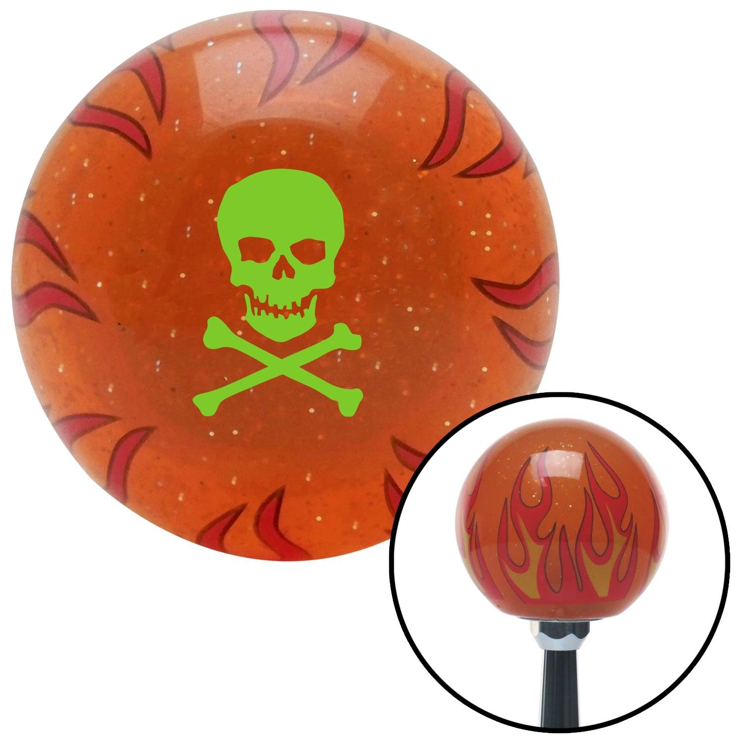 Green Skull /& Bones American Shifter 255559 Orange Flame Metal Flake Shift Knob with M16 x 1.5 Insert