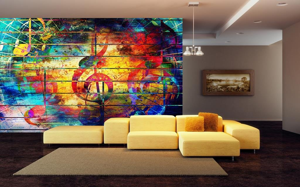 999STORE Beautiful Abstract Colourful Collage with Music Notes and The Violin Leather Wallpaper Murals (Leather, 135Sqft, Multicolour)