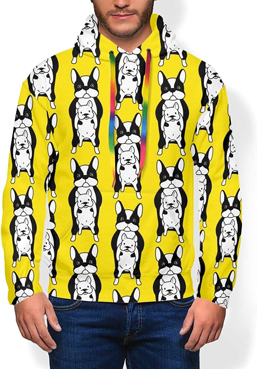 RZM YLY Funny French Bulldog Printed Hoodies for Men Pullover Hooded Shirts