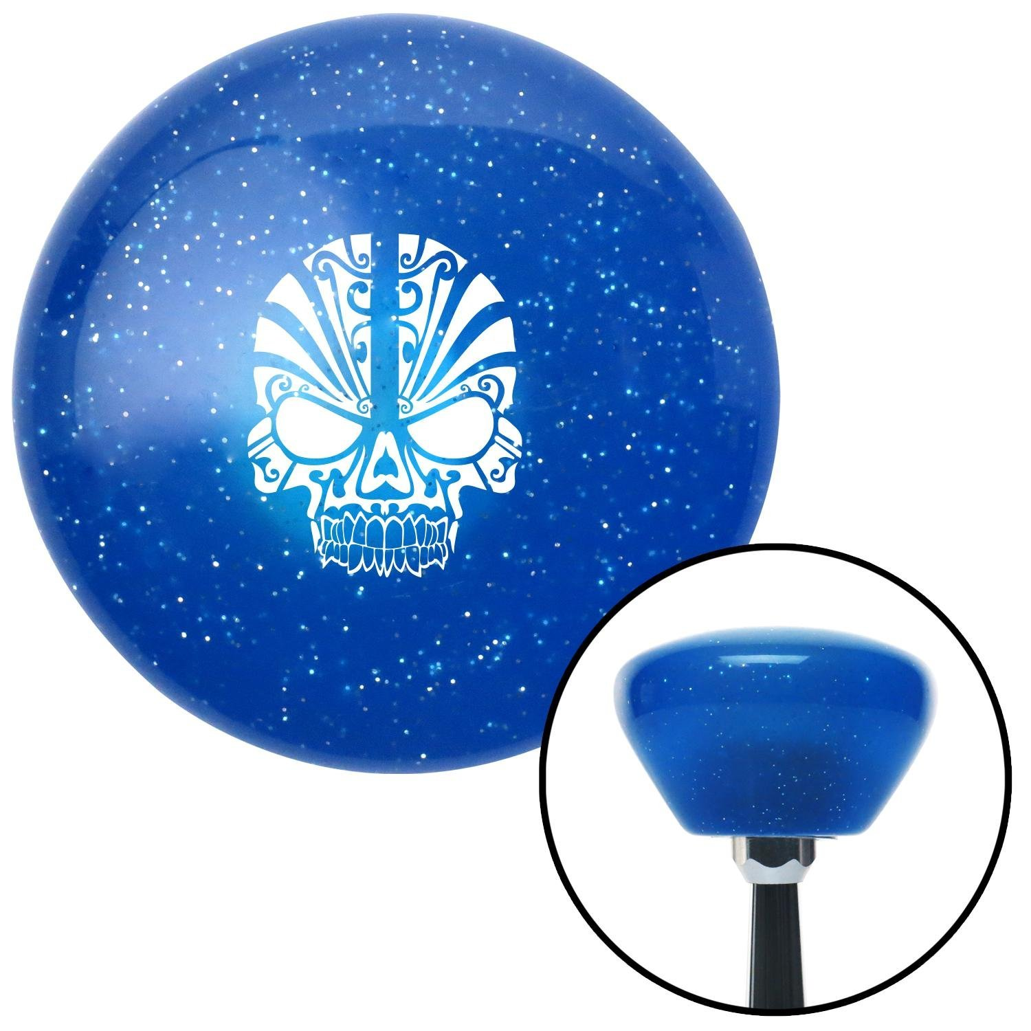 White Skull 5 American Shifter 192388 Blue Retro Metal Flake Shift Knob with M16 x 1.5 Insert