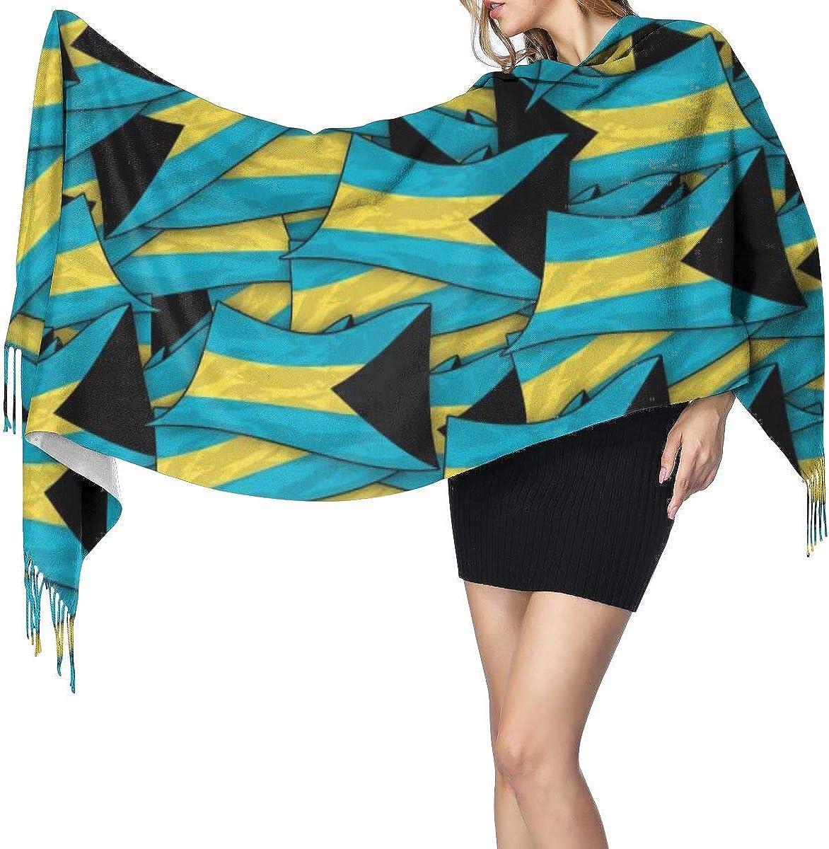 The Bahamas Flag Wave Collage Womens Winter Warm Scarf Fashion Long Large Soft Cashmere Shawl Wrap Scarves