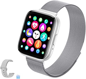 2021 Upgraded Smart Watch for Women, Fitness Tracker with Heart Rate/Sleep/Steps Monitor Compatible for iPhone Samsung Android, Bluetooth Call Smartwatches for Men (T99 Silver)