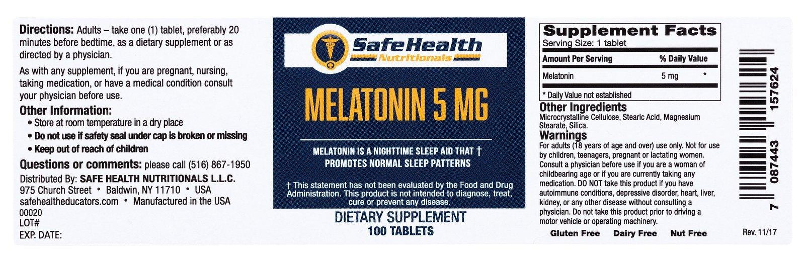 Safe Health Nutritionals Melatonin 5mg Tablet by Safe Health Nutritionals (Image #4)
