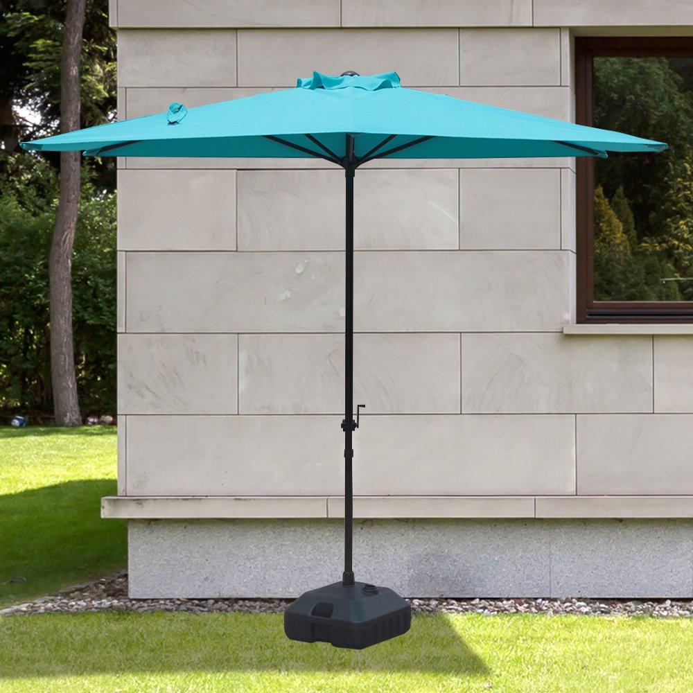 COBANA Half 7.5 by 4 Rectangular Outdoor Umbrella for Patio,Balcony,Garden,Deck,Blue