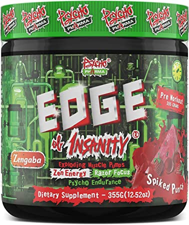 New Perfect Powders with Zengaba Energy Feel Good Focus #1 Strongest PWO Psycho Pharma Edge of Insanity - Most Intense Workout Powder, Focus & 8G Citrulline Pumps - 355 Gram (Spike Punch)