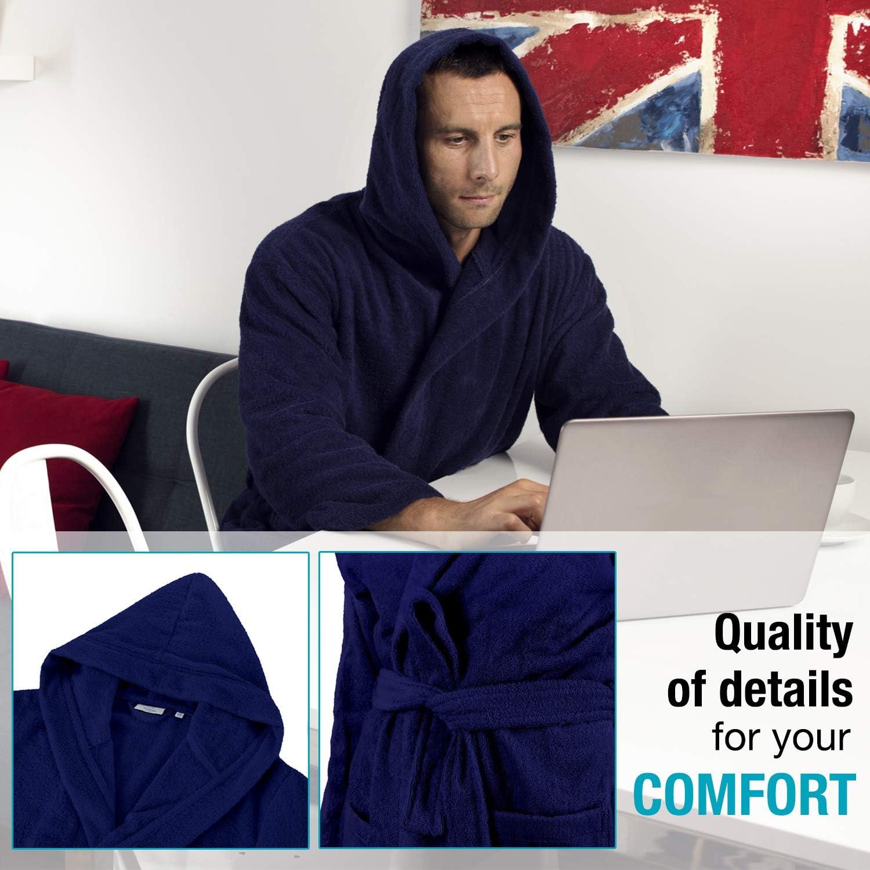Absorbent Soft 100/% Turkish Cotton No Chemicals Belt Hood Bathrobe Men 2 Pockets